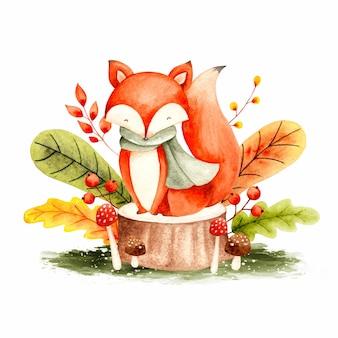 Akwarela jesienny lis i liście