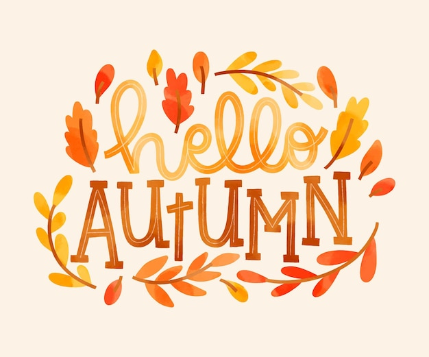 Akwarela jesienny napis