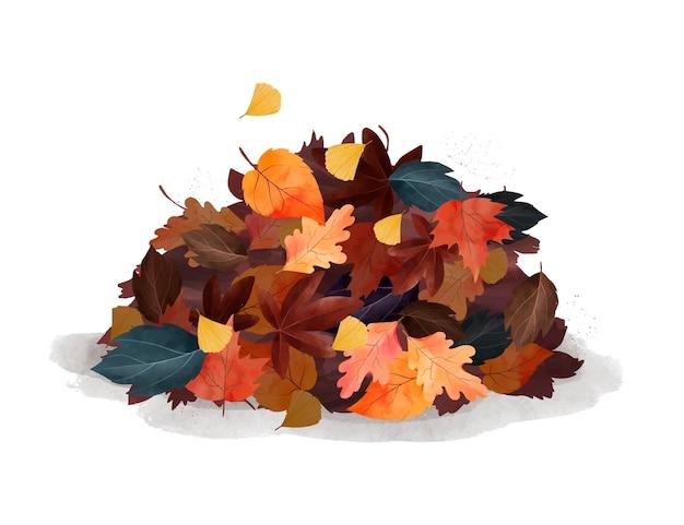 Akwarela jesienny stos liści