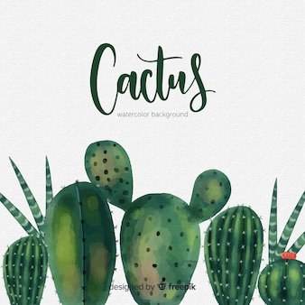 Akwarela kaktus tło