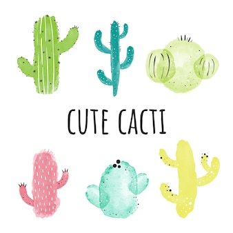 Akwarela kaktusy. ilustracji wektorowych biały bg