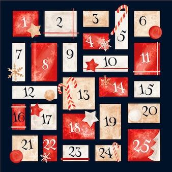 Akwarela kalendarz adwentowy