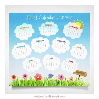 Akwarela kalendarza szkoły z cute ogród