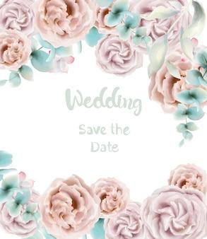 Akwarela karta kwiat róży. zaproszenia ślubne lub pozdrowienia w stylu retro vintage