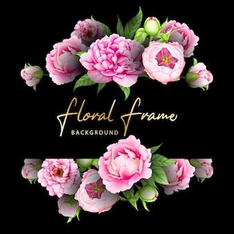 Akwarela karta kwiatowy wesele ramki