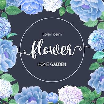 Akwarela karta kwiaty hydrenyia