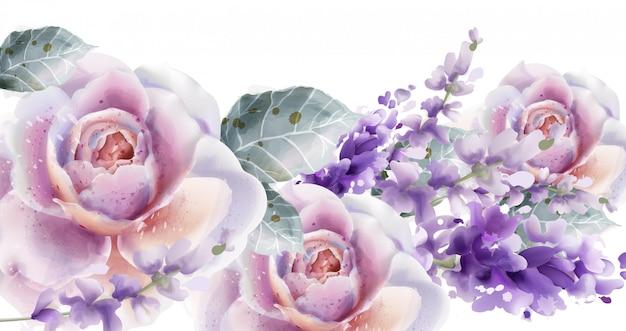 Akwarela karta róża i tulipany. bukiet kwiatów wiosna lato