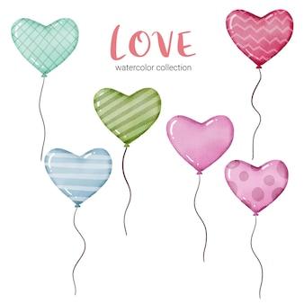 Akwarela karta z latającymi balonami w kształcie serc i różnych teksturach, element koncepcji walentynkowej piękne romantyczne czerwono-różowe serca do dekoracji, ilustracji.