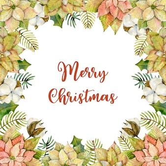 Akwarela kartka świąteczna wykonana z gałęzi jodły poinsecji, liści ostrokrzewu i bawełny