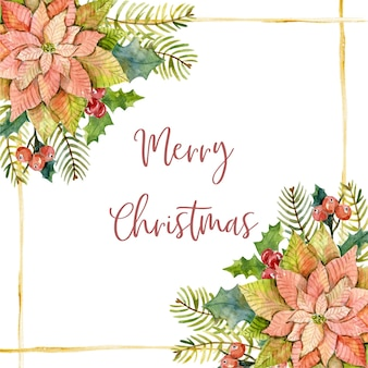 Akwarela kartka świąteczna z gałęziami jodły poinsecji liście ostrokrzewu bawełniane i złote linie