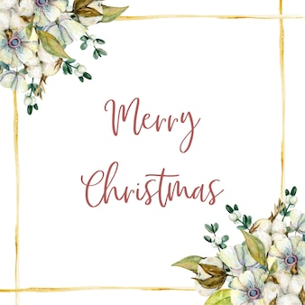 Akwarela kartka świąteczna z kwiatami jemioły bawełnianej gałązki zawilce i złotymi liniami