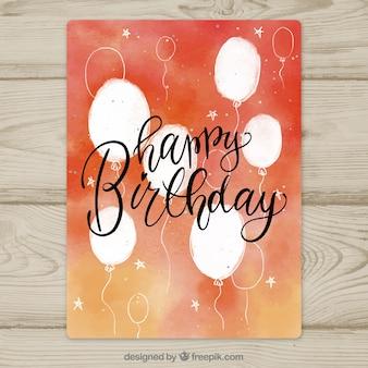 Akwarela kartka urodzinowa z balonów
