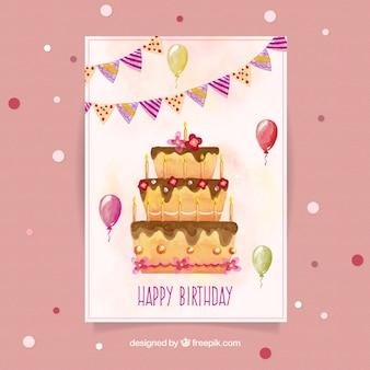 Akwarela kartka urodzinowa z ciasta