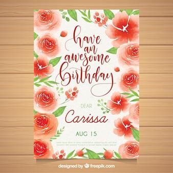 Akwarela kartka urodzinowa z czerwonymi kwiatami