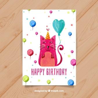 Akwarela kartka urodzinowa z kotem