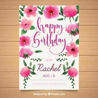Akwarela kartka urodzinowa z kwiatami