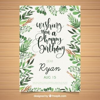 Akwarela kartka urodzinowa z liści