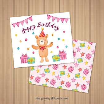 Akwarela kartka urodzinowa z niedźwiedzia