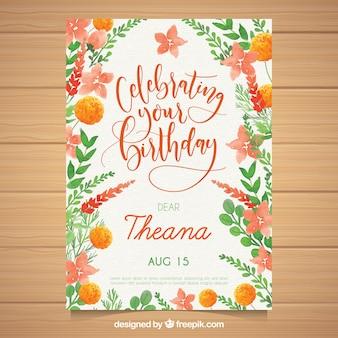 Akwarela kartka urodzinowa z pięknymi kwiatami