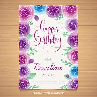 Akwarela kartka urodzinowa z róż
