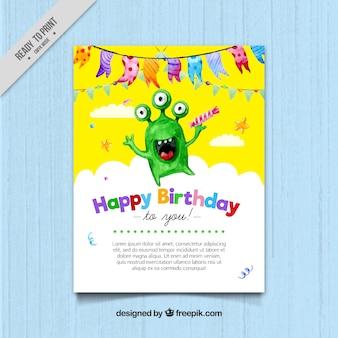 Akwarela kartka urodzinowa z zielonym potworem