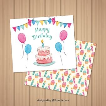 Akwarela kartka urodzinowa