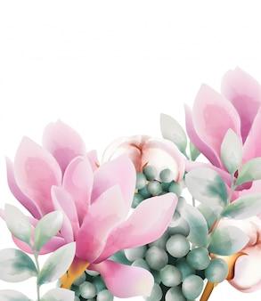 Akwarela kartkę z życzeniami z kwiatami