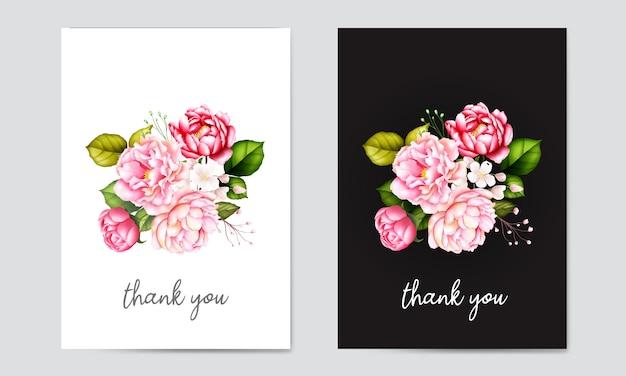 Akwarela kartki ślubne z kwiatową ramką