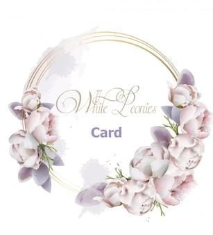 Akwarela karty wieniec kwiatów piwonii