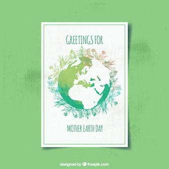 Akwarela karty z kwiatowej dekoracji na dzień matki ziemi