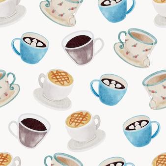 Akwarela kawa i napój bez szwu wzór