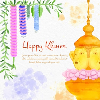 Akwarela khmerska ilustracja nowy rok