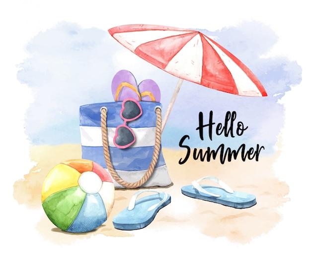Akwarela klapki, parasol, okulary przeciwsłoneczne, piłka i torba