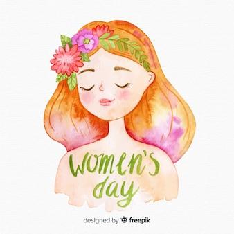 Akwarela kobiet dzień tło