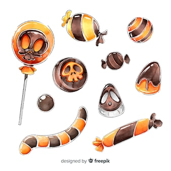 Akwarela kolekcja cukierków halloween