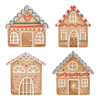 Akwarela kolekcja domków z piernika