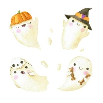 Akwarela kolekcja duchów halloween