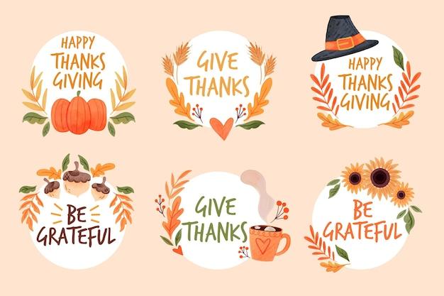 Akwarela kolekcja etykiet dziękczynienia