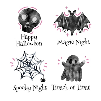 Akwarela kolekcja etykiet halloween