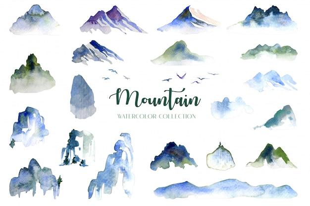 Akwarela kolekcja gór, wzgórz i ptaków układa się na białym tle