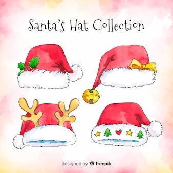 Akwarela kolekcja kapelusze świętego mikołaja