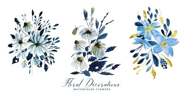 Akwarela kolekcja kwiatów kwiatowych