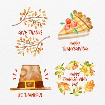 Akwarela Kolekcja Odznak Dziękczynienia Darmowych Wektorów