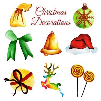 Akwarela kolekcja ozdoby świąteczne