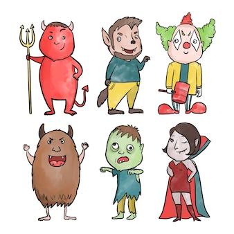 Akwarela kolekcja postaci halloween