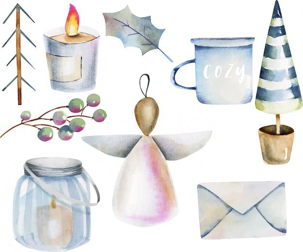 Akwarela kolekcja skandynawskich przedmiotów bożonarodzeniowych