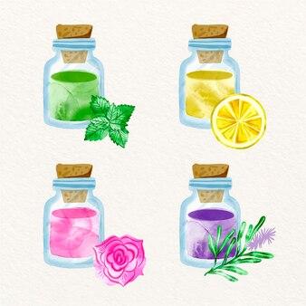 Akwarela kolekcja słoików olejków eterycznych