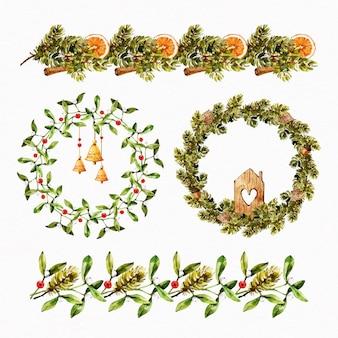 Akwarela kolekcja świątecznych dekoracji