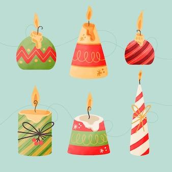 Akwarela kolekcja świątecznych świec