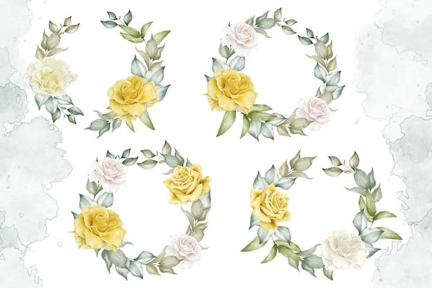 Akwarela kolekcja szablonów układu kwiatów i liści